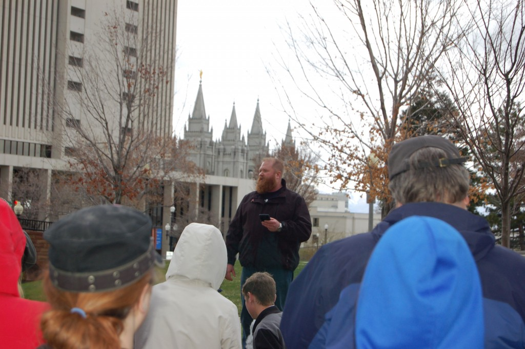 Dan Ellis, President of  Atheists of Utah, shares a few remarks with those gathered around him.