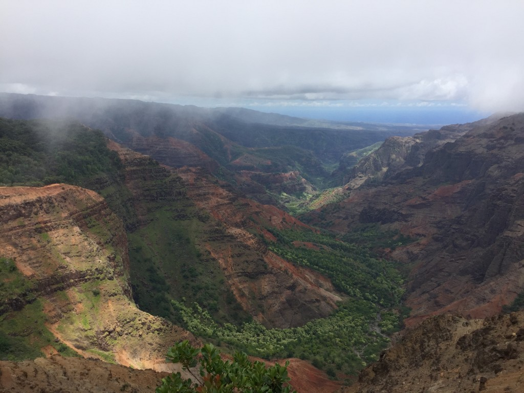 "Waimea Canyon, referred to by some as ""the Grand Canyon of the Pacific."" The colors were much more vibrant and alive than what is shown in this image."